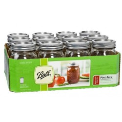 12  x Pint Regular Mouth Jar and Lid Ball Mason Case