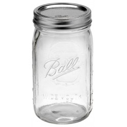 6 x 1 Litre Quarts Wide Mouth Preserving Jars BPA Free Lids