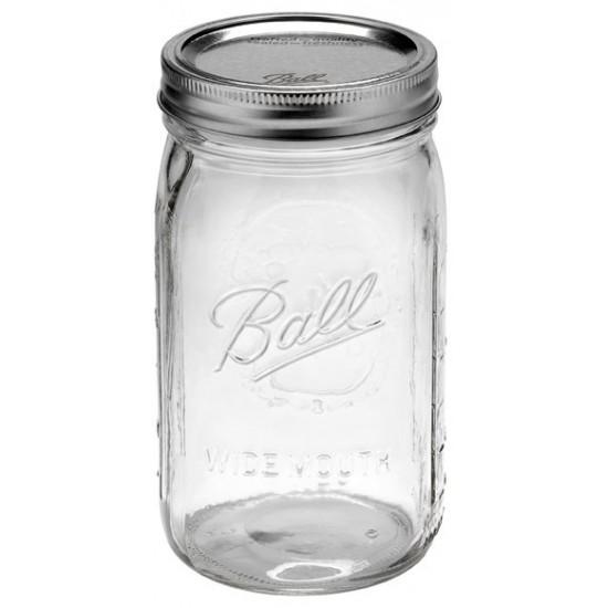 6 x 1 Litre Quarts Wide Mouth Preserving Jars BPA Free Lids
