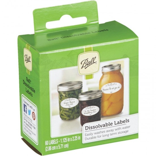 60 x Ball Mason Jar Dissolvable Labels Preserving Canning Storage