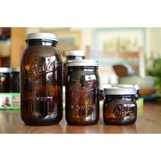 2 x Ball Collection Elite AMBER Jars - Wide Mouth Half Gallon / 64oz