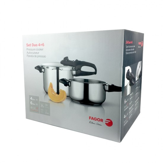 Fagor Duo Stainless Steel Pressure Cooker Combo Set 4l and 6l