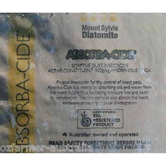 12.5kg Absorbacide Food Grade Fossil Flour Diatomaceous Earth APVMA Approved