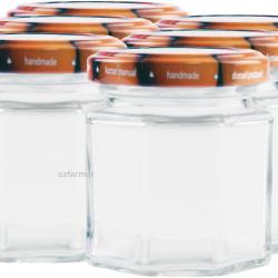 6 x 100ml Octagonal Rex Jars with Fruit Pattern Lids