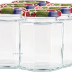 190ml Octagonal Rex Jars with Fruit Pattern Lids - Pack of 6