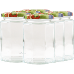 270ml Octagonal Rex Jars with Fruit Pattern Lids - Pack of 6