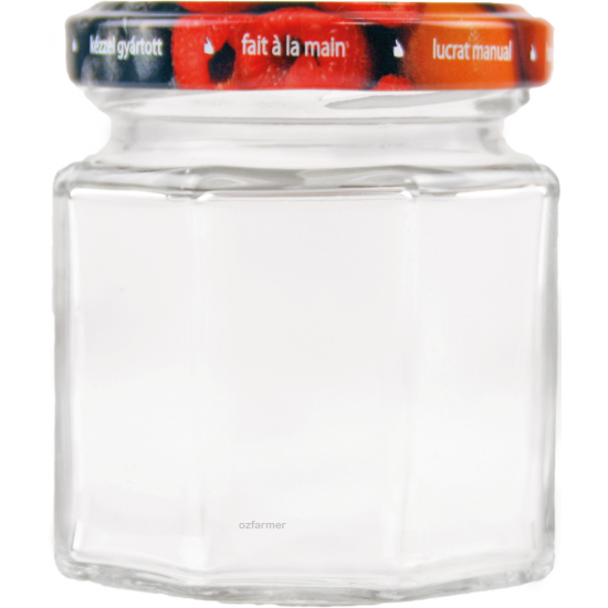 6 x 100ml Octagonal Rex Jars with Fruit Pattern Lids