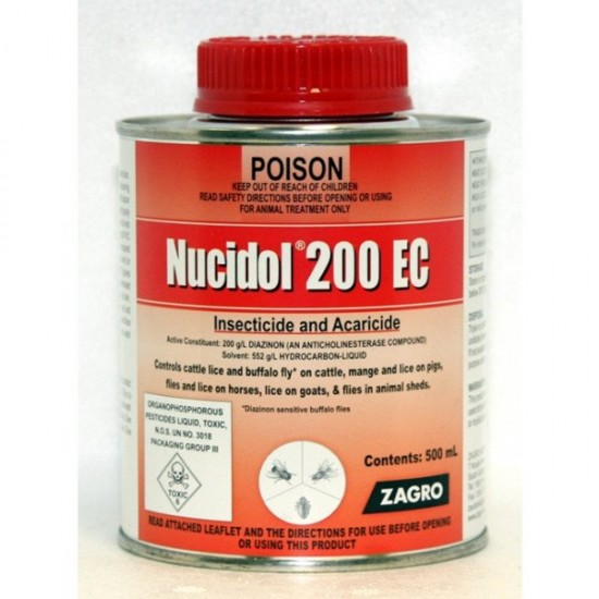 Nucidol 200 EC Insecticide and Acaricide 500-mL (Diazinon) Cattle Goats Pigs Sheep
