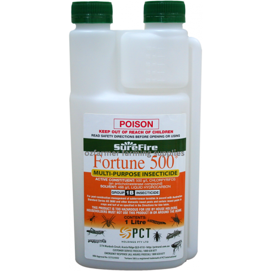 Surefire Fortune 500 EC Chlorpyrifos Termiticide Funnel Ant General Insecticide