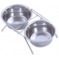 Pet Bowl Stainless Set and Stand Complete