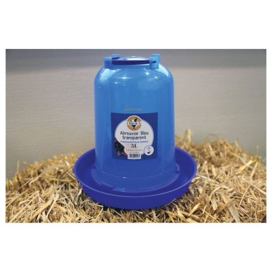 Poultry / Chicken drinker / water feeder Transparent Blue 5l