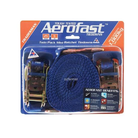 1,000kg break strength 25mm x 5m  Ratchet Tiedown Twin Pack Aerofast