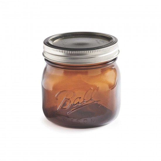 4 x Ball Mason Collection Elite  Amber Jars - Wide Mouth Pint / 16oz