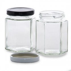 195ml Hexagonal Jars - Pack of 6 - Lids not included