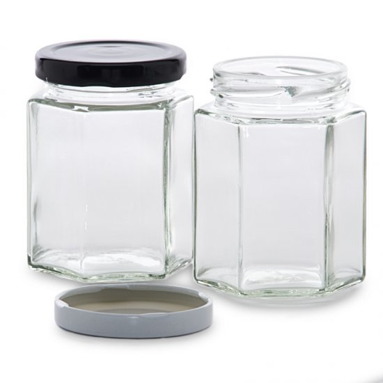 195ml Hexagonal Jars - Pack of 6 - Lids not included