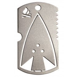 Survival Dog Tag with Arrow Tool, Knife and Saw Blade