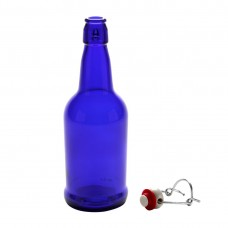 1 x Pint /16oz/ 475ml Cobalt Blue Flip Top Grolsch Style Beer Fermenting Bottle