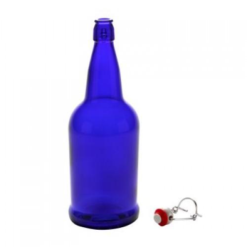 1 x Quart /32oz/ 950ml Cobalt Blue Flip Top Grolsch Style Beer Fermenting Bottle
