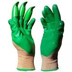 """Honey Badger Digging Gloves Green Nitrile 9"""" Large"""