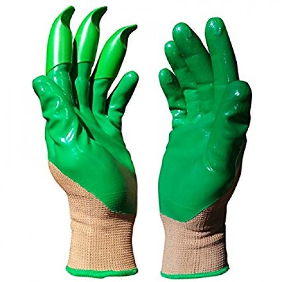 "Honey Badger Digging Gloves Green Nitrile 8"" Medium"