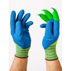 """Honey Badger Digging Gloves Latex Unisex Blue Large 9"""""""