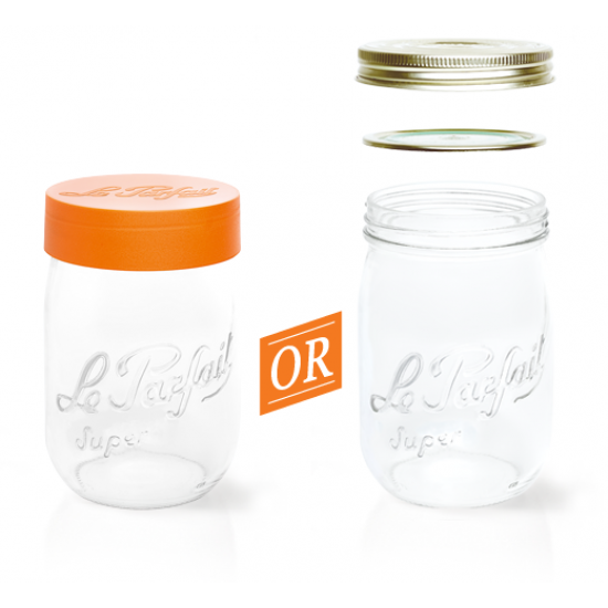3000ml Le Parfait Storage Jar with Orange Screwtop Lid