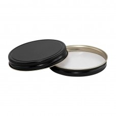 89mm SCREW TOP  CT Tin Lid with Food Safe Lining One Piece BLACK