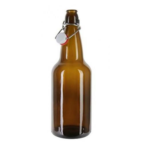 1 x 750ml Amber Flip Top Beer Fermenting Bottle SINGLE