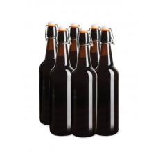 6 x 750ml Amber Flip Top Grolsch Style Beer Fermenting Bottle