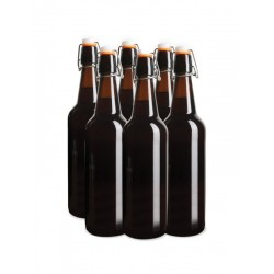 6 x 750ml Amber Flip Top Grolsch Style Beer Fermenting Bottle