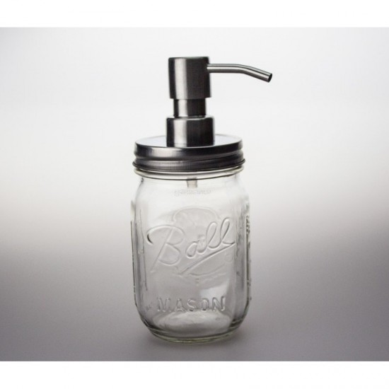 1 x Pint Soap Dispenser Ball Mason Regular Mouth With Stainless Steel Pump