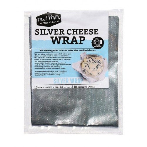 10 x Silver Cheese Wrap Butter Silver Foils 240 x 240