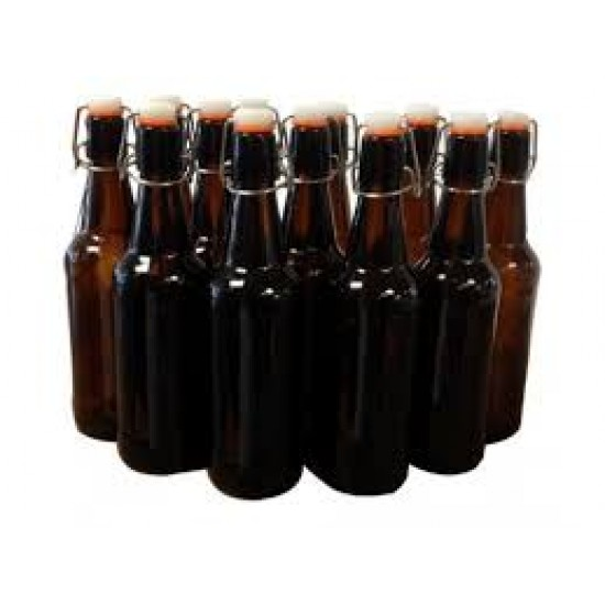 12 x 500ml Amber Flip Top Grolsch Style Beer Fermenting Bottle