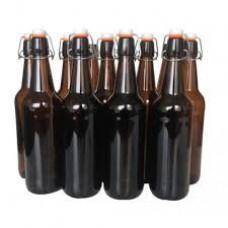 12 x 750ml Amber Flip Top Grolsch Style Beer Fermenting Bottle
