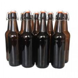 12 x 750ml Amber Flip Top Grolsch Style Beer Fermenting Bottle