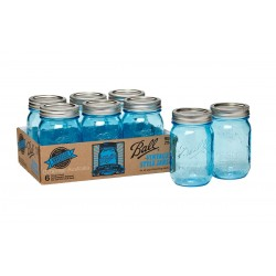 12 x Blue Heritage Pints Ball Mason USA - 2 cases of 6