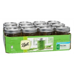 12 x Pint Wide Mouth Jars and Lids BPA Free Lids Ball Mason
