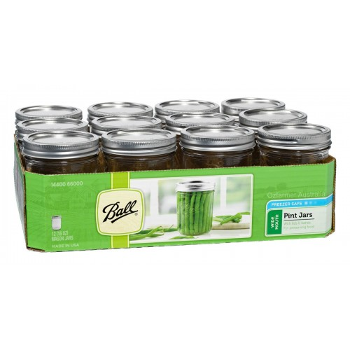 12 x Pint WIDE Mouth Jars and Lids BPA Free Lids Ball Mason  OUT OF STOCK INDEFINITELY