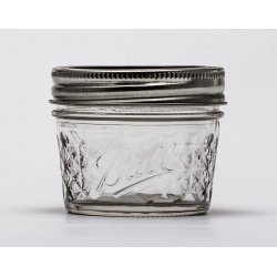 12 x 4oz / 120ml Quilted Jam Jars and BPA Free Lids Ball Mason