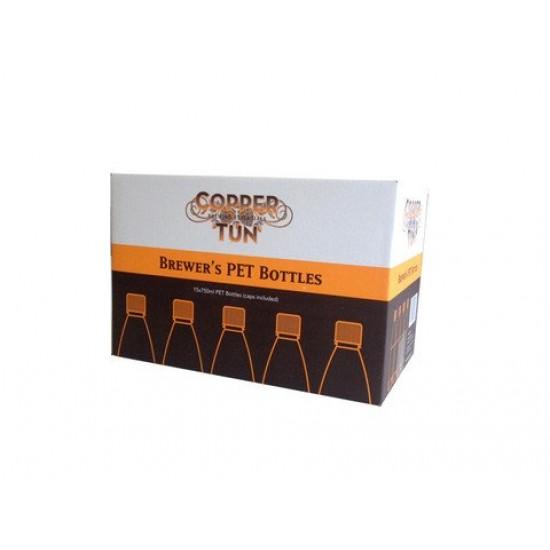 15 x Bottle Amber PET Plastic 750ml Case