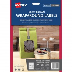 180 x Avery Kraft Brown Wraparound Labels Jar Top Labels