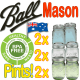 2 x  Ball Mason Pints Green, Blue and Clear 6 IN TOTAL