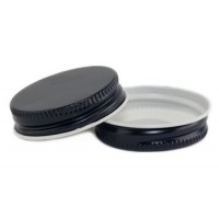38mm SCREW TOP  CT Tin Lid with Food Safe Lining One Piece BLACK