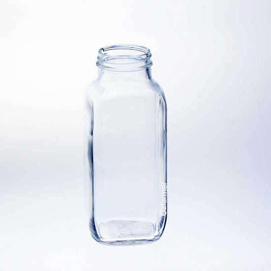 40 x Bell 16 oz Dairy French Square Bottles with optional lids