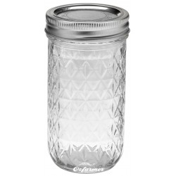 1 x 12oz Quilted Jam Jar and Lid Ball Mason SINGLE