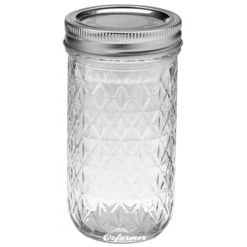 12oz Quilted Jam Jar and Lid Ball Mason SINGLE