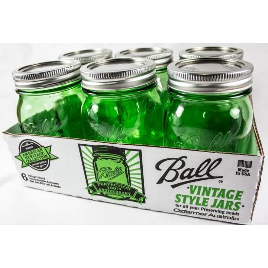 6 x Pint Green Heritage Collection REGULAR Mouth Jars Ball Mason
