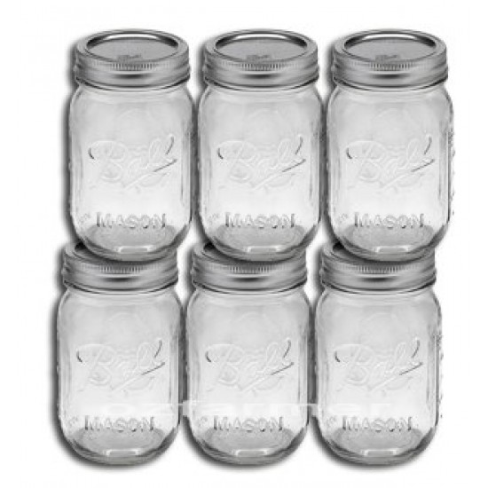 6 x Pint Regular Mouth Jars and Lids BPA Free Ball Mason