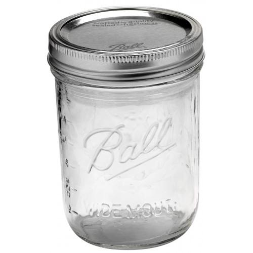 6 x Pint WIDE Mouth Jars and BPA Free Lids Ball Mason