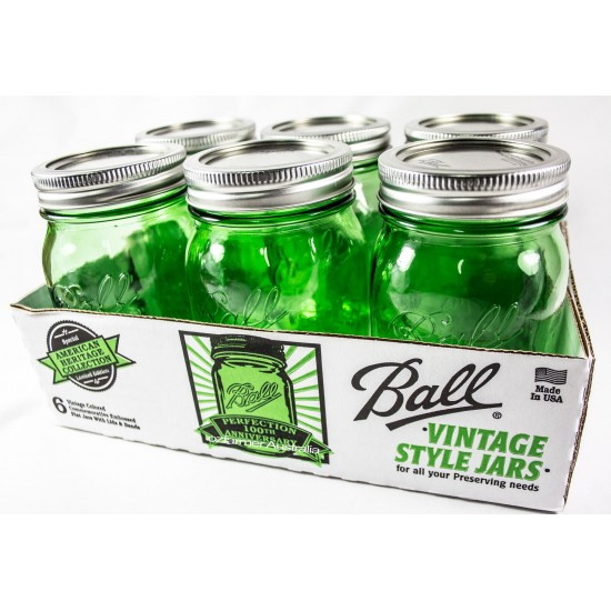 6 x Quart 950ml Green Heritage Collection Jars Wide Mouth Ball Mason